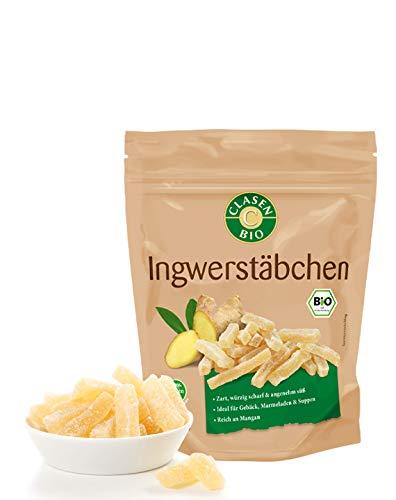 CLASEN BIO Ingwerstäbchen - 100g, getrocknet, von Natur aus vegan und glutenfrei, biologischer Anbau