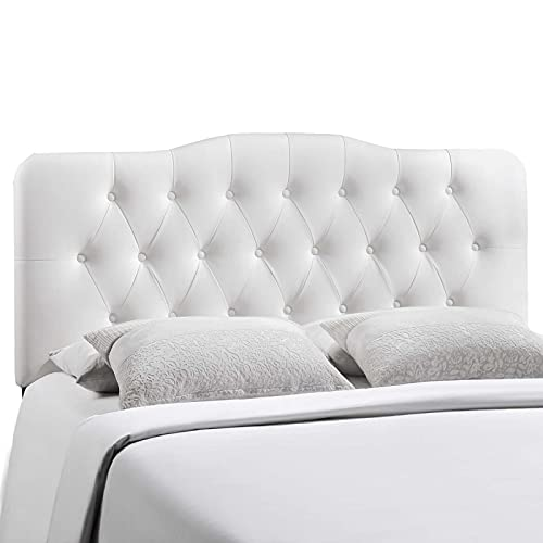 Modway Annabel Tufted Button Faux Leather Upholstered Full Headboard in White