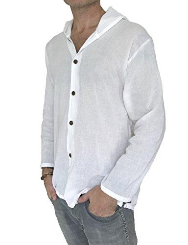 Men's Hoodie Button Down Hippie Shirts Beach 100% Soft Cotton Top Yoga Shirt (Large, White)