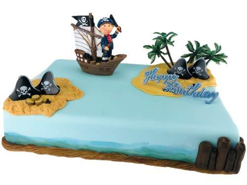 Cake Company Tortendekoration Piraten-Junge im Segelschiff   Tortendeko Kindergeburtstag und Geburtstag   Motivtorte Piraten Junge im Schiff