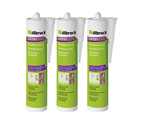 3x Illbruck LD701 Strukturacryl Putzacryl mit körniger Struktur zur Reparatur von Wand + Fassade 310ml Weiss