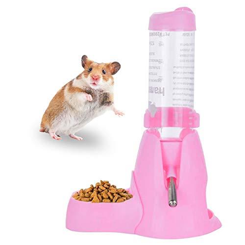 Moligin Hamster-Wasser-brunnen Für Trinkflasche Futterautomat Wasser Lebensmittel-Dispenser Für Kleintiere Meerschweinchen Ratte Kaninchen Dwarf Gerbil Rosa