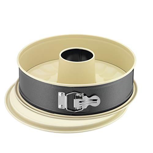 Kaiser Inspiration Plus Springform 28 cm rund, 2 Böden, Flach- und Rohrboden, runde Backform, antihaftbeschichtet, auslaufsicher, mit Rezept
