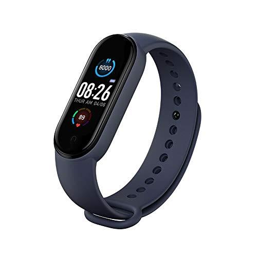 M5 Smart Pulsera Fitness Tracker, con IP67 resistente al agua, pantalla a color 0,96 pulgadas, podómetro, reloj fitness con pulsómetro presión arterial, Bluetooth Fitness reloj para hombres y mujeres