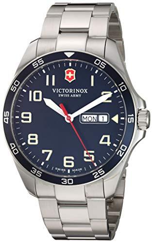 Victorinox Fieldforce Analog Quartz Watch with Stainless Steel Strap, Metallic, 18 (Model: 241851)