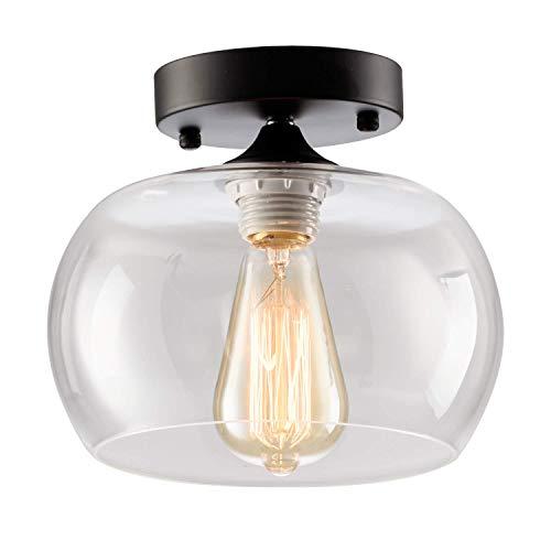 Luz de techo moderna Sombra de vidrio Soporte de cerámica