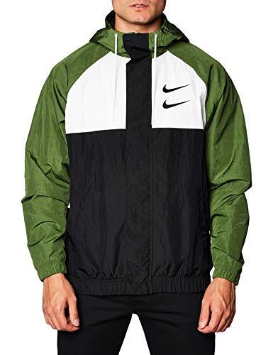 Nike Herren M NSW Swoosh JKT HD WVN Sport Jacket, Black/White/Treeline/Black, 2XL