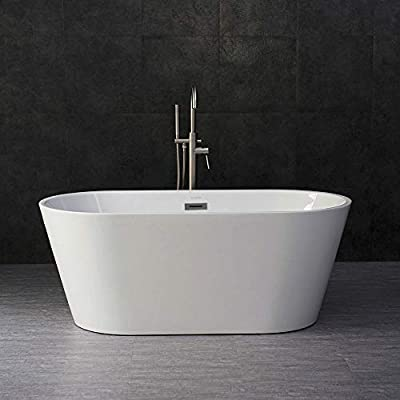 "Woodbridge 59"" Acrylic Freestanding Bathtub Contemporary Soaking Tub with Chrome Overflow and Drain, BTA1514-C,White"