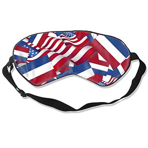 Schlafmaske, Niederlande-Flagge mit Amerika-Fahne, Seidenmaske mit verstellbarem Kopfband, Block, leichtes Nickerchen