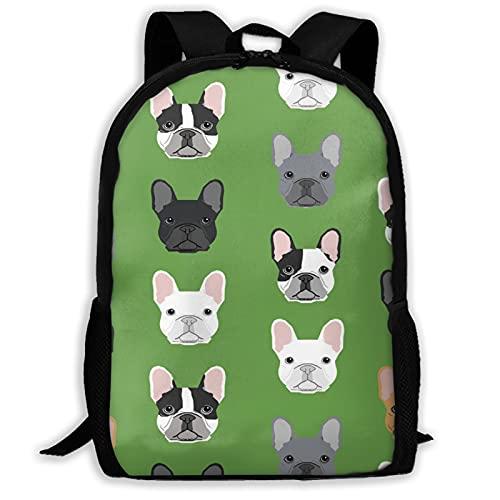 Travel Backpack for Men Women Green Frenchie Dog College Bookbag Casual Daypack 15 Inch MacBook Laptop Rucksack for Women Men Girls Boys Teens