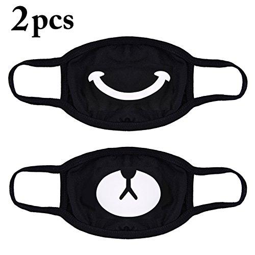 2 stuks uniseks masker van katoen met smiley en beer motief