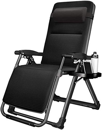 Sun Lounger Garden Chairs Folding Zero Gravity Lounge Chair with Cup Holder and Cushion, Adjustable Recliner for Patio Garden Lawn Deck, Support 440lbs (Color, Black),Black