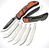 Outdoor Edge 3.5' RazorLite EDC - Replaceable Blade Folding Knife with Pocket Clip and One Hand Opening for Everyday Carry (Orange, 6 Blades)