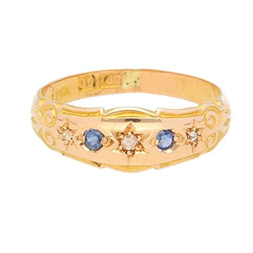 Anillo de mujer de oro amarillo de 15 quilates con zafiro y diamante (tamaño J 1/2) 6 mm de ancho | Anillo de lujo para mujer