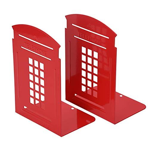TENCMG Bookends - Non-Slip Heavy Metal Durable Sturdy Strong Books Organizer - Telephone Booth Bookshelf Decor Decorative,Red,10.2x14x20cm