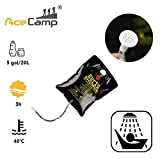 AceCamp Solar Heating Camping Shower Bag, Portable 5 Gallon Water Hanging Bag with Removable Hose and Shower Head for Bathing Outdoors, Backpacking, Hiking, Survival