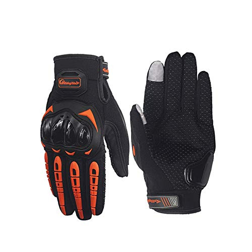 BaronHong Guanti moto Knuckle Summer Powersports Racing Extreme Sports (arancione, XL)