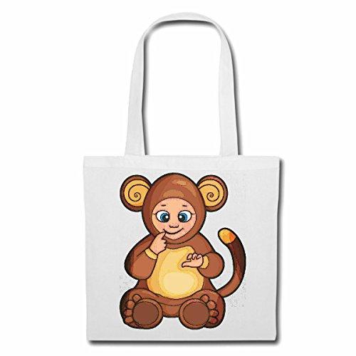 Tasche Umhängetasche LUSTIGER AFFE IM BÄRENKOSTÜM Monkey Schimpanse AFFE Gorilla SILBERRÜCKEN MENSCHENAFFE Charly AFFEN King Kong Einkaufstasche Schulbeutel Turnbeutel in Weiß