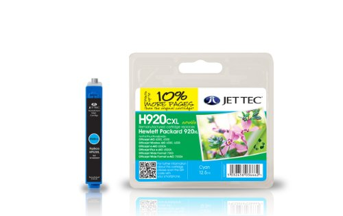 Jet Tec Cartucho de Tinta Compatible para HP HP920XL/CD972AE - Cian