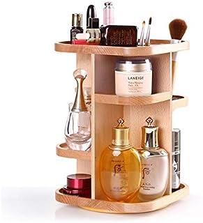 ILH Maquillage Vitrine De Soins De La Peau Organisateur Boîte De Rangement En Bois 360 Plateau Tournant,Natural