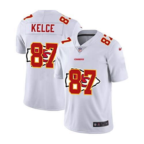 ZWTT Jersey de fútbol Americano de los Hombres Travis Kelce # 87 Kansas City Chiefs, Fans Sweatshirt Rugby Jersey Transpirable Bordado Repetible Limpieza Regalo de vacaci 6-L