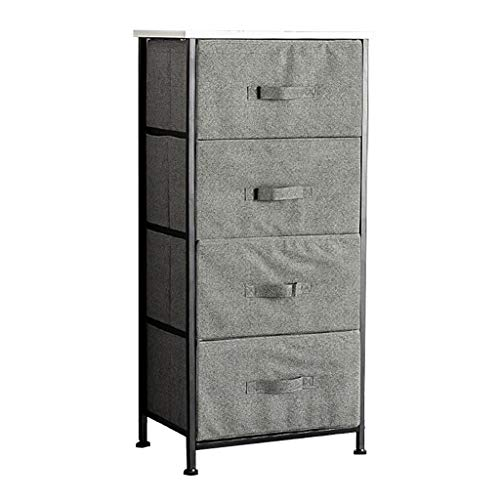ZXCV 4 lades Verticale dressoir opslag toren - stalen frame, houten top, gemakkelijk trekken stof Bins - Organizer eenheid voor slaapkamer, hal, entree - grijs Beige