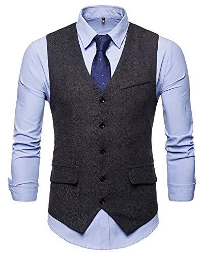 WHATLEES Herren Schmale Tweed Weste mit Zweireihige Knopfleiste, Ba0116-black, XXL