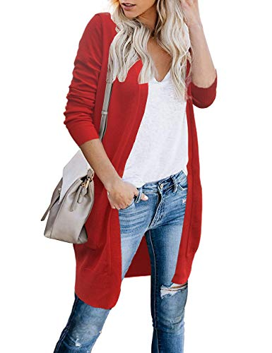 FOLUNSI Women's Sweaters Open Front Long Knit Cardigans with Pockets Red L