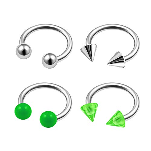 4Pcs Steel 16g 5/16 8mm Horseshoe Earring Piercing Jewelry Eyebrow Daith Rook Helix Tragus 3mm Green Cone Ball Solid UV M9939