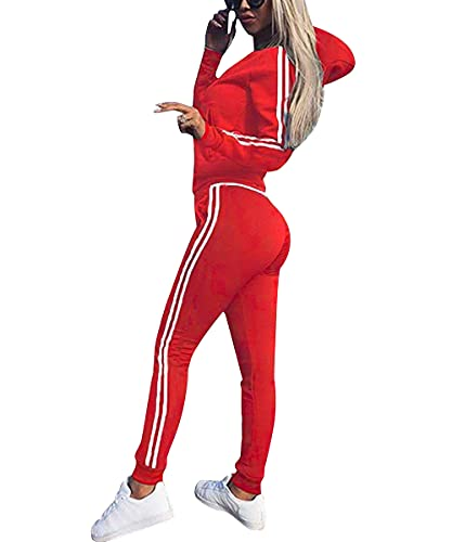 Udaderas Mujer Pantalones + Tops Conjunto de Chándal de Mujer Camisas Fitness Manga Larga Casual Jersey Chaqueta Hoodie&Pantalones (Rojo, M)