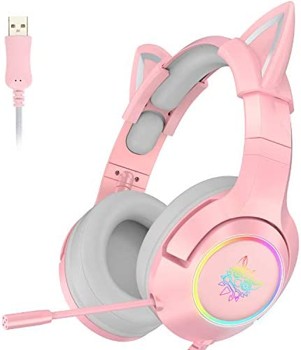Upgraded ONIKUMA Pink Gaming Headset with 7 1 Virtual Surround Sound and Removable Cat Ear Compatible product image