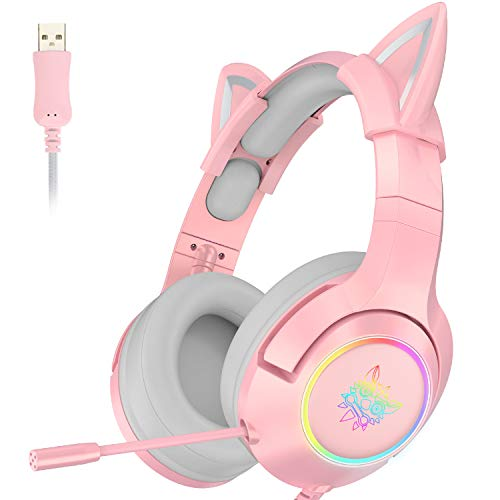 ONIKUMA Cuffie da gioco rosa con suono surround virtuale 7.1 e orecchio gatto rimovibile, compatibile con PS4, Xbox One (adattatore non incluso), con microfono retrattile a cancellazione del rumore