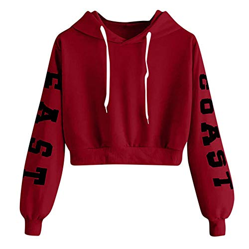 YEBIRAL Damen Hoodie Mädchen Kapuzenpulli Briefdruck Bauchfrei Pullover Oberteile Kurz Sport Crop Tops Sweater Sweatshirt Sweatjacke (Rot, XS)