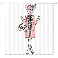 ファッションヒップスターのように着飾ったおかしい豚浴室の窓の装飾のための生地のホックが付いているポリエステル防水シャワー・カーテン60X72in