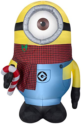 Giant 8.5 ft Stuart with Plaid Scarf Minions Christmas Inflatable