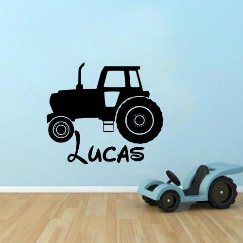Personalised Tractor name boys kids farmer autocollant de décalque de mur de vinyle Vinyl Decal for Children 100x55