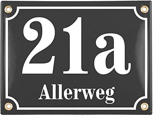 Sosenco Hausnummerschild Hausnummer mit Straßenname - 20x15 cm - Keramik Emaille - Wetterfest - Personalisiert (Anthrazit)