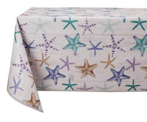 Vinylla - Mantel de vinilo fácil de limpiar con estrellas de mar
