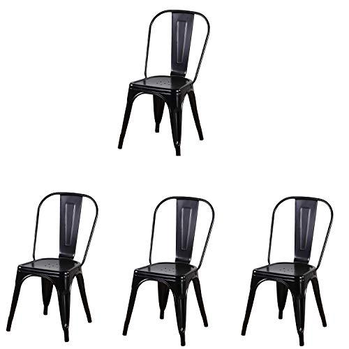 N/A Sillas de Comedor de Metal sillas Laterales apilables para Uso en Interiores Cocina al Aire Libre Restaurante Bistro cafetería sillas de jardín Laterales Juego de 4 (Negro)