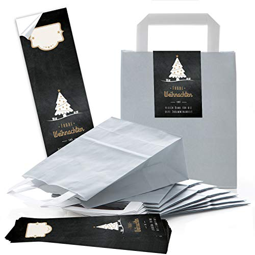 25 hell-graue weihnachtliche Papiertüten Geschenktasche Henkel mit Boden 18 x 8 x 22 cm + 25 Aufkleber FROHE WEIHNACHTEN DANKE KUNDEN-Geschenk Verpackung BAUM schwarz weiß gold Be-Füllen