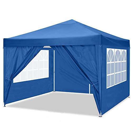 TOOLUCK Pavillon Partyzelt 3x3m Wasserdicht Flatpavillon Gartenpavillon Gartenzelt Marktzelt Festzelt mit 4 Seitenteilen, für Garten Terrasse Feier Markt als Unterstand Eventzelt (3x3 m, Blau)