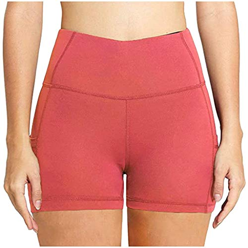 YANFANG Pantalones Cortos de Yoga de Cintura Alta con Empalme para Mujer, Bolsillos Laterales Ajustados, Pantalones Cortos Deportivos,Mallas Leggings,Polainas,, XL,Hot Pink