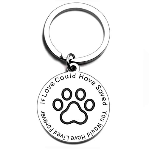 Pet Memorial Gift Keychain for Dogs Cats Personalized Loss of Pet Gift If Love Could Have Saved You, You Would Have Lived Forever Pet Sympathy Dog Cat Remembrance Sympathy Gifts Key Ring