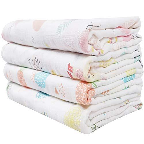 Softan Baby Babydecke Wickeldecke 4 Stück Baby Schmusedecke Baby Swaddle Decke, Einschlagdecke, Baumwolle 120 x 120 cm