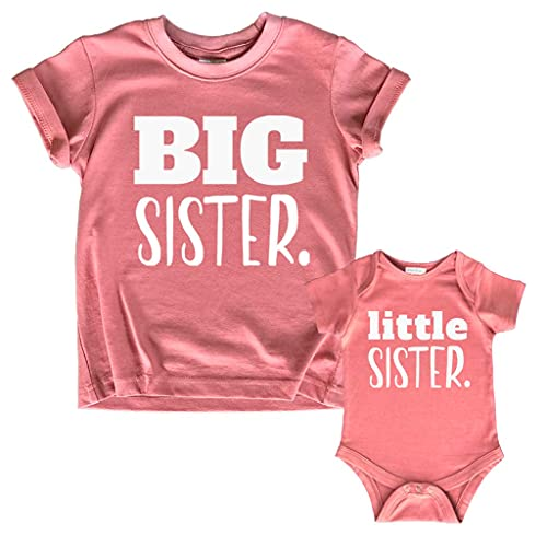 Big Sister Little Sister Matching Outfits Shirt Gifts Girls Newborn Baby Set (Mauve, Kid (2Y) / Baby (1-3M))