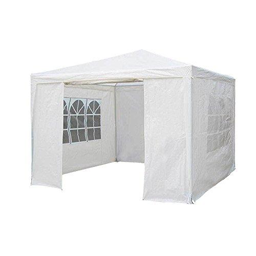 Saving Plus 3Mx3M PE Garden Gazebo Awning Party Wedding Tent With Full sidewall (White)