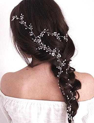 Missgrace mariée Argent Cheveux Vigne Extra Large de mariage Coiffe Mariage Accessoires Cheveux Mariage Vigne Long Mariage Coiffe Mariage Cheveux 100 cm/-39,4 en
