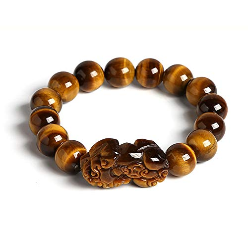 Lllunimon Gold Color Tiger Eyes Stone Beads Bangles Bracelet Chinese Lucky Goods Beast Pixiu Bracelet Jewelry Gift,10mm