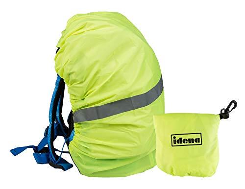 Idena Regenschutzhülle für Rucksäcke und Ranzen, neon gelb mit Reflektorstreifen, Universalgröße mit Gummizug, wasserabweisend, inklusive Aufbewahrungsbeutel und Karabiner, 17 x 13 x 2,5 cm