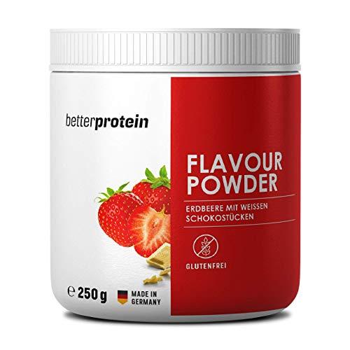 Geschmackspulver Erdbeere mit echten weißen Schokostücken zum verfeinern und zum backen geeignet | kalorienreduziertes Aroma | Flavour Powder Zero 250g | better protein